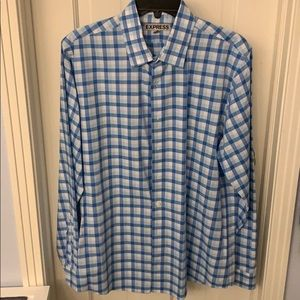 Express men's button down blue checked, large